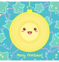 Christmas card with ball and star in kawaii style vector