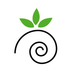 Abstract drawing of a cute snail with green leaves vector