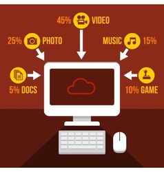 Cloud Storage Infographics Icons Set vector image