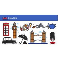 england travel destination promotional poster with vector image