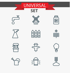 Farm icons set collection of source barrier vector