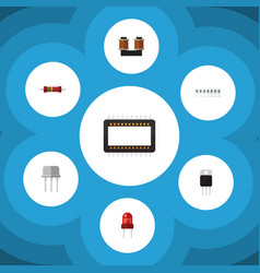 Flat icon electronics set of memory coil copper vector