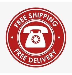 Free shipping telephone emblem design vector