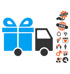Gift delivery van icon with lovely bonus vector