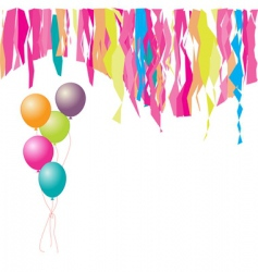 happy birthday balloons and confetti vector image