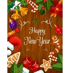 Happy New Year best wishes poster vector image