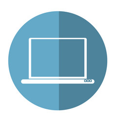 Laptop device wireless technology button shadow vector