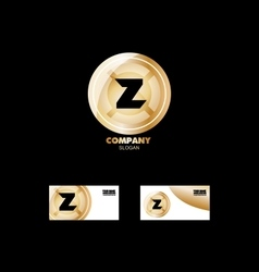 Letter z golden circle logo vector