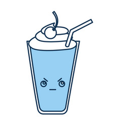 Milkshake glass kawaii character vector