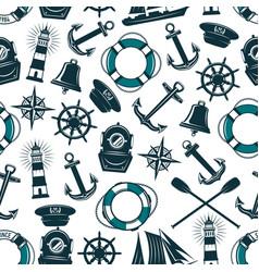 Nautical marine heraldic seamless pattern vector
