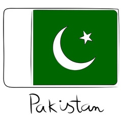 Pakistan flag doodle vector image vector image