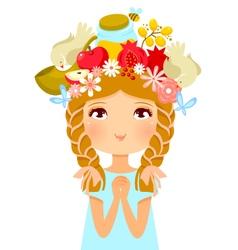 Rosh Hashanah girl vector image