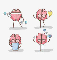 Set icon adorable kawaii brain doing different vector