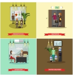 set of business people concept posters vector image vector image