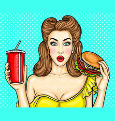 Sexy pop art girl holding a cocktail in her hand vector