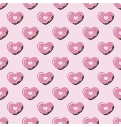 simple geometric heart donut seamless vector image