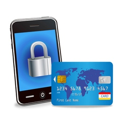 smart phone with padlock and credit card vector image vector image