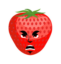 Strawberry angry emoji red berry evil emotion vector
