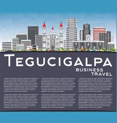 tegucigalpa skyline with gray buildings blue sky vector image vector image