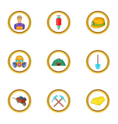 Underground work icons set cartoon style vector