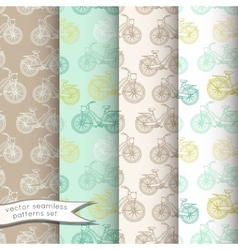 Vintage bicycles seamless patterns set vector