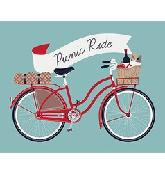 Vintage poster of a bike and a picnic basket vector