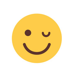Yellow smiling cartoon face winking emoji people vector