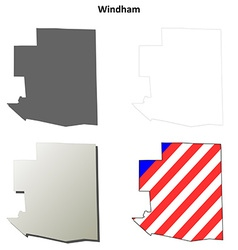Windham map icon set vector