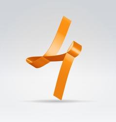 Silk ribbon letter abc vector image