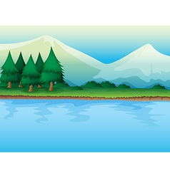 River and trees vector