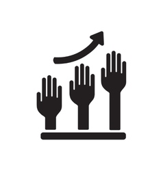 Flat icon in black and white hand graph vector