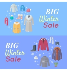 Big winter sale winter clothes web banner poster vector
