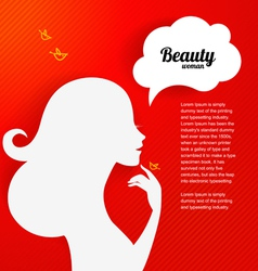 Applique background with beautiful girl silhouette vector image