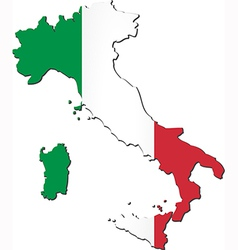 Map of italy with national flag vector
