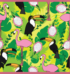 seamless pattern with pink flamingos toucan vector image