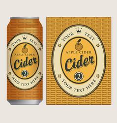 Label for apple cider on basket background vector