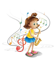 A talented child with a saxophone vector