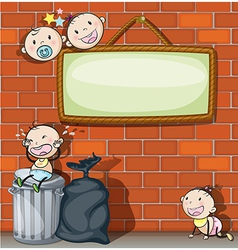 A hanging empty signboard with infants vector