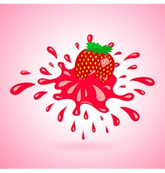 Strawberry splash element red vector