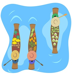 Floating market vector