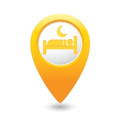 Map pointer with hotel icon vector