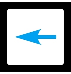 Sharp left arrow flat blue and white colors vector