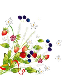 Bunch from flowers and berries vector