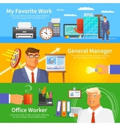 Office banner set vector