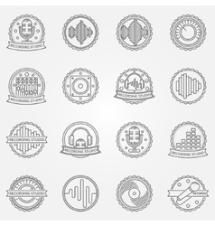Recording studio labels set vector