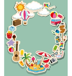 Border design with summer theme vector