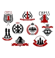 Chess icons with red and black chessmen vector