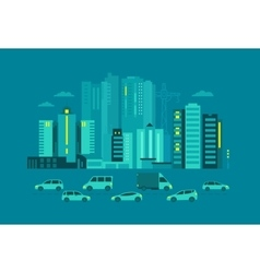 Cars in the city metropolis street on blue vector
