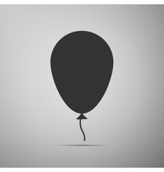 Balloon with ribbon flat icon on grey background vector image
