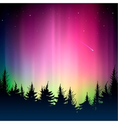 Bokeh colorful background and silhouette of forest vector image vector image